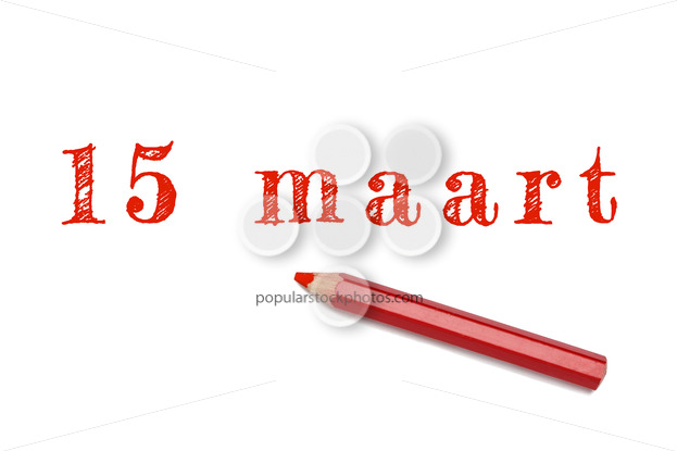 15 maart text sketch red pencil - Popular Stock Photos
