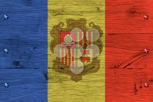 Andorra national flag painted old oak wood fastened - Popular Stock Photos