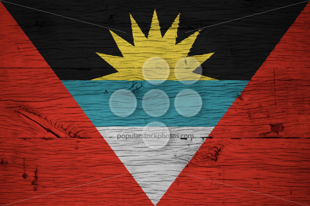 Antigua and Barbuda national flag painted old oak wood - Popular Stock Photos