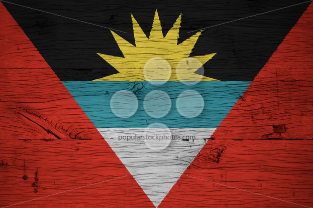 Antigua and Barbuda national flag painted old oak wood - Popular Stock Photos
