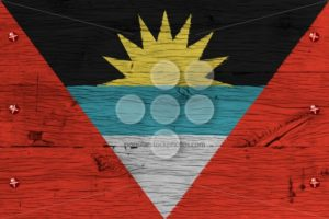 Antigua and Barbuda national flag painted old oak wood fastened - Popular Stock Photos
