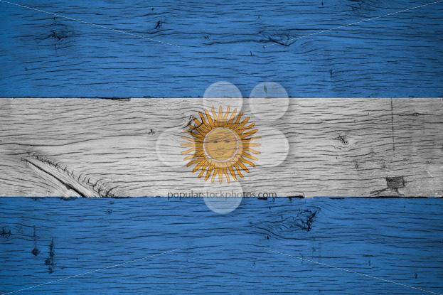 Argentina national flag painted old oak wood - Popular Stock Photos