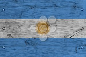 Argentina national flag painted old oak wood fastened - Popular Stock Photos