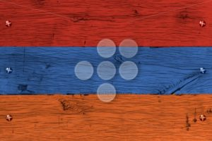 Armenia national flag painted old oak wood fastened - Popular Stock Photos