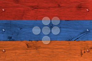 Armenia national flag painted old oak wood fastened - Popular Stock Photos