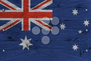 Australia national flag painted old oak wood fastened - Popular Stock Photos