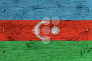 Azerbaijan national flag painted old oak wood fastened - Popular Stock Photos