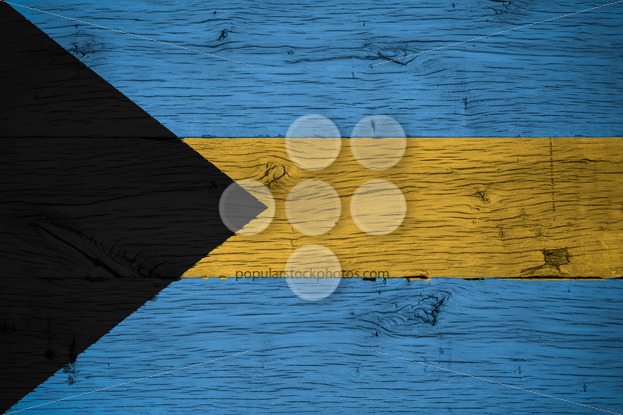 Bahamas national flag painted old oak wood - Popular Stock Photos