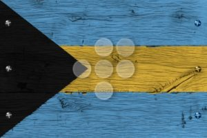 Bahamas national flag painted old oak wood fastened - Popular Stock Photos