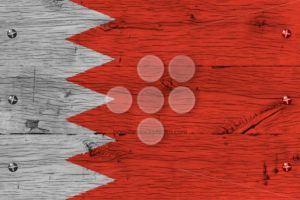 Bahrain national flag painted old oak wood fastened - Popular Stock Photos