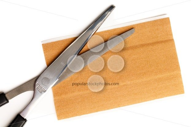 Band aid strip scissors isolated white – Popular Stock Photos
