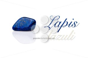 Beautiful blue lapis lazuli gem stone isolated text - Popular Stock Photos
