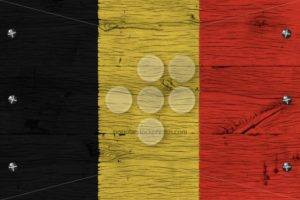 Belgium national flag painted old oak wood fastened - Popular Stock Photos