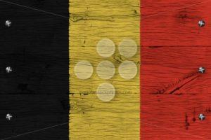Belgium national flag painted old oak wood fastened - Popular Stock Photos