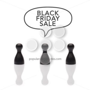 "Black pawns say ""black friday sale"" text balloon - Popular Stock Photos"