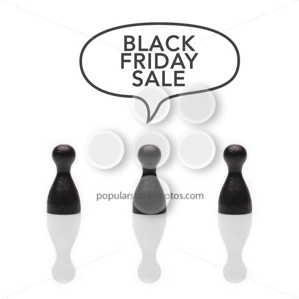 "Black pawns say ""black friday sale"" text balloon - Popular Stock Photos"