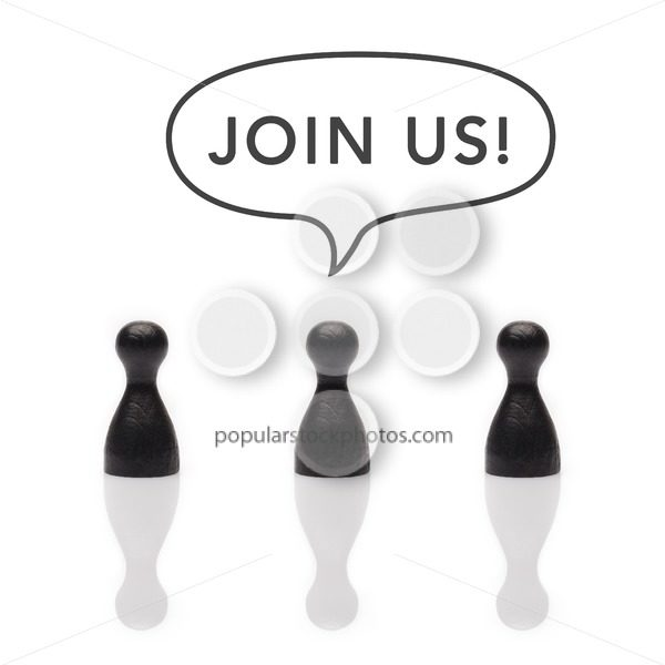 "Black pawns say ""join us!"" text balloon - Popular Stock Photos"