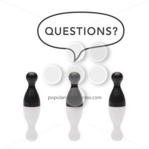 "Black pawns say ""questions?"" text balloon - Popular Stock Photos"