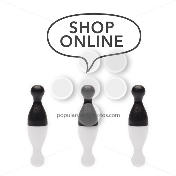 "Black pawns say ""shop online"" text balloon - Popular Stock Photos"