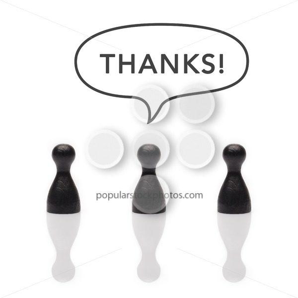 "Black pawns say ""thanks"" text balloon - Popular Stock Photos"