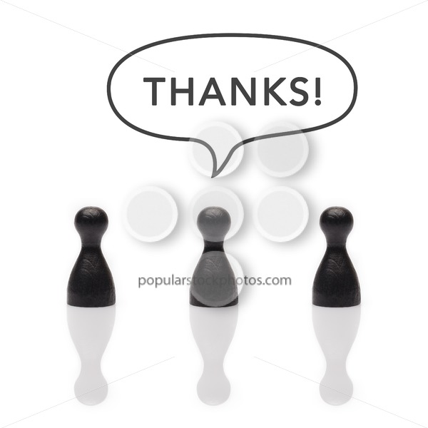 "Black pawns say ""thanks"" text balloon - Popular Stock Photos"