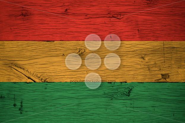 Bolivia civil flag painted old oak wood - Popular Stock Photos