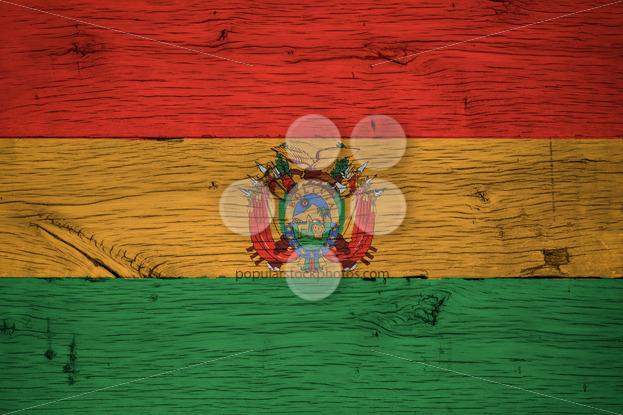 Bolivia national flag painted old oak wood - Popular Stock Photos