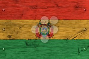 Bolivia national flag painted old oak wood fastened - Popular Stock Photos