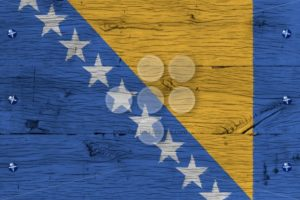 Bosnia and Herzegovina national flag painted old oak wood fasten - Popular Stock Photos