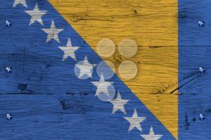 Bosnia and Herzegovina national flag painted old oak wood fasten - Popular Stock Photos