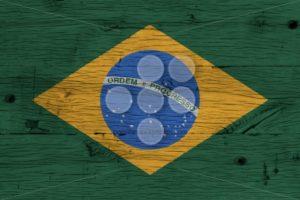 Brazil national flag painted old oak wood - Popular Stock Photos
