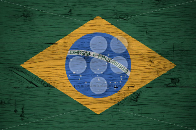 Brazil national flag painted old oak wood - Popular Stock Photos