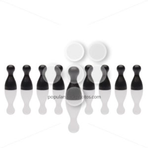 Business concept leader step forward group black square - Popular Stock Photos