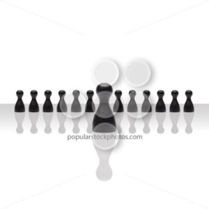 Business concept leader step forward group small black square - Popular Stock Photos