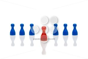 Business concept leadership step forward red blue - Popular Stock Photos