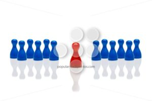 Business concept leadership step forward red multiple blue - Popular Stock Photos
