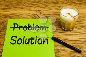 Business concept problem solution green paper - Popular Stock Photos