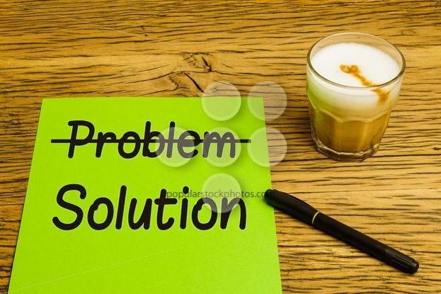 Business concept problem solution green paper – Popular Stock Photos