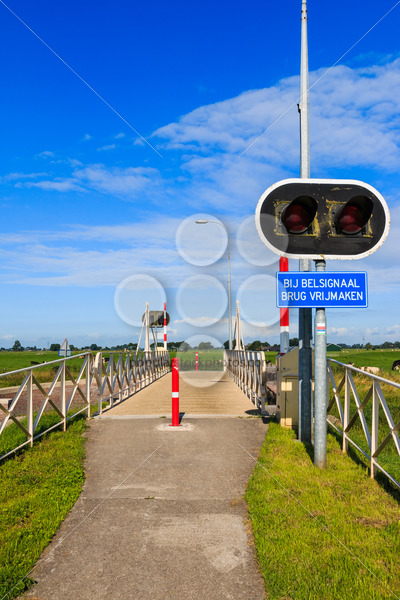 Bycicle bridge crossing Reitdiep in the Netherlands – Popular Stock Photos