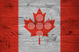Canada national flag painted old oak wood - Popular Stock Photos