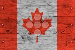 Canada national flag painted old oak wood fastened - Popular Stock Photos
