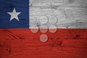 Chile national flag painted old oak wood - Popular Stock Photos