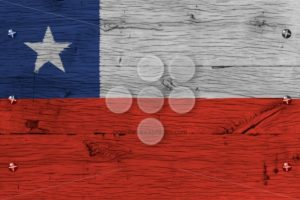 Chile national flag painted old oak wood fastened - Popular Stock Photos