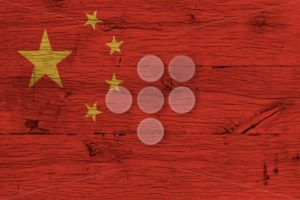 China national flag painted old oak wood - Popular Stock Photos