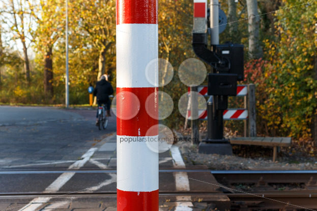Close-up pole of railway crossing – Popular Stock Photos