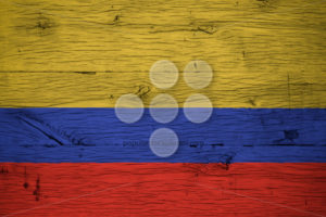 Colombia national flag painted old oak wood - Popular Stock Photos