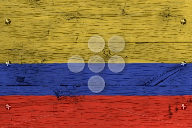 Colombia national flag painted old oak wood fastened – Popular Stock Photos