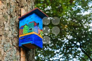 Colorful birdhouse canal houses view side - Popular Stock Photos