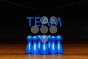Concept blue team wih chalk text - Popular Stock Photos