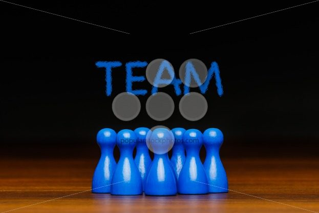 Concept blue team wih chalk text – Popular Stock Photos